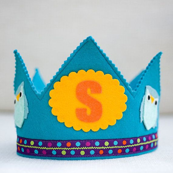 Owl Birthday  Waldorf Birthday Crown  woodland party by mosey, $28.00