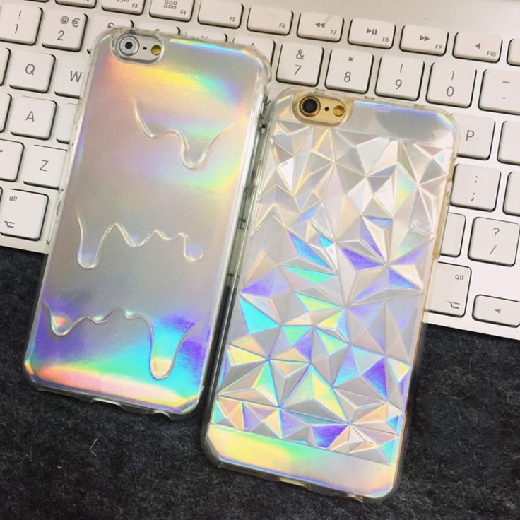 >> Click to Buy << Holographic Iridescent Card Rainbow 3D Diamond Geometric Drippy TPU Skin Cover For iPhone 7 5 6 s + Fashion Pastel Grunge Cases #Affiliate