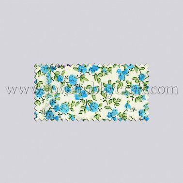 fresh leaves & flower woven print fabric deep sky blue polyester