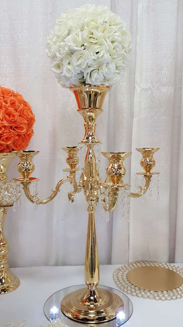 30 Inches Gold Silver Large 5 Arm Metallic Candelabra