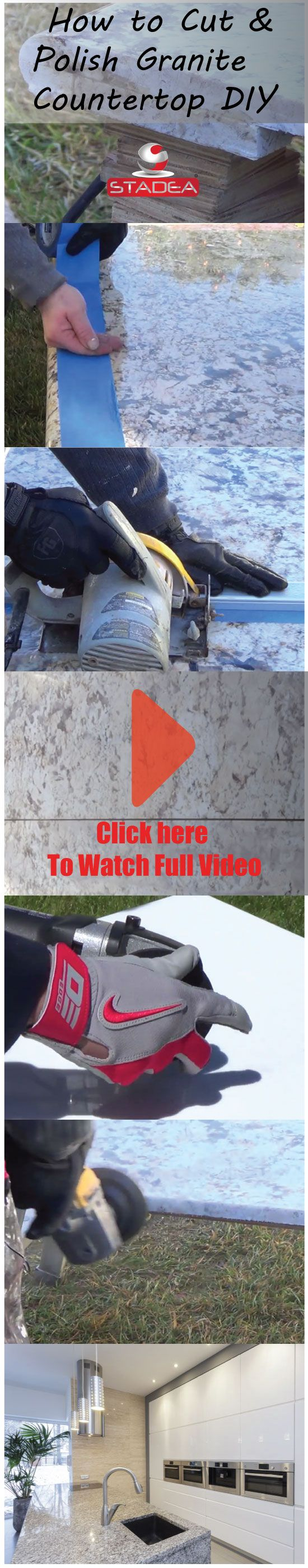 Shopnsavemart.com demonstrates How to Cut And Polish Granite Countertop DIY. Step to step DIY video demonstrates cutting of granite slab using saw blades, polishing the edges using stadea dry diamond polishing pads.