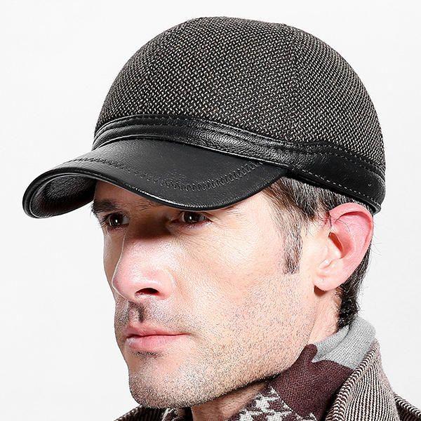 Men Winter Warm PU Woolen Baseball Cap With Ears Flaps Outdoor Snapback Hats Adjustable at Banggood  #men #fashion #accessories