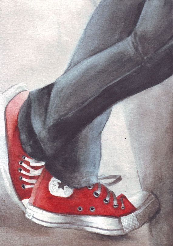 Red ALL STARS and denim conversation - a #watercolor #illustration