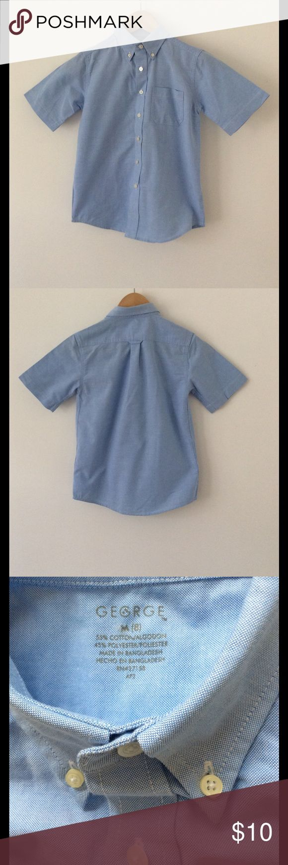 """Boys Short Sleeve Shirt - Size M (8) Wear for special occasions, with a school uniform or casual affair. Length: 20 1/4"""" (shoulder to hem) Width: 15 1/2"""" (underarm to underarm)   55% Cotton, 45% Polyester  Smoke Free Home George Shirts & Tops Button Down Shirts"""