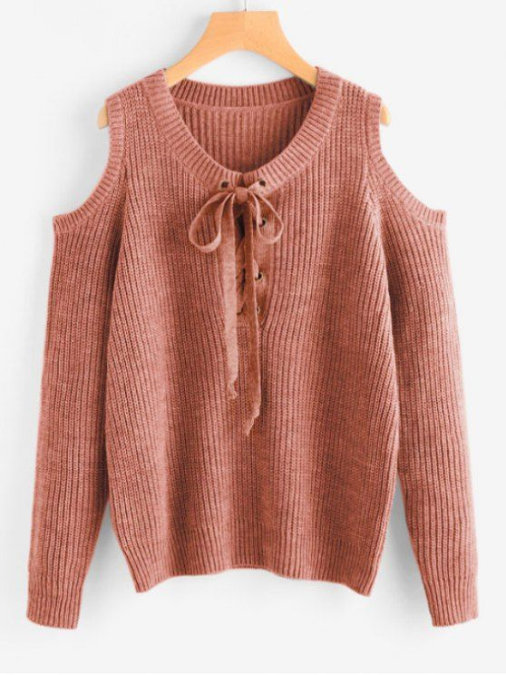 951c24eb839 Lace Up Cold Shoulder Chunky Sweater in 2019 | Fall Outfit Ideas ...
