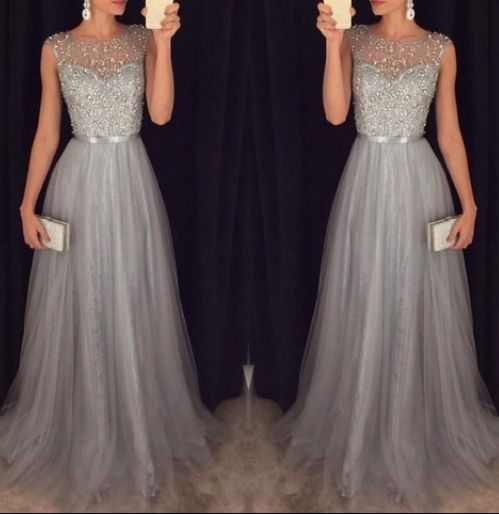2016 New Arrival Cap Sleeves Beading Prom Dresses,Charming Gray Evening Dresses,A-line Modest Prom Gowns,Long Prom Gowns