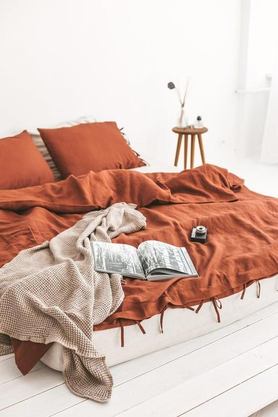 Burnt Orange Color Washed Cotton Duvet Cover Duvet Cover With Loops Duvet Cover Twin Full Double Queen King Toddler Cotton Bedding Duvet Covers Bed Linen Sets Linen Duvet