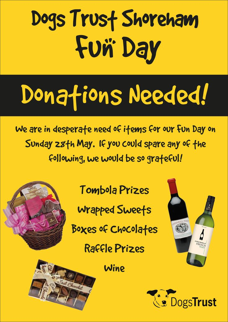 There will be a fabulous Raffle & Tombola at our annual Dogs Trust Shoreham 🎉 Fun Day - but we need YOUR 👉🏼 HELP to make it even more 'waggy-licious' !  🐶🐶🐶 Anyone who can donate some prizes 🎁 (Wine, Chocolates, Vouchers & Tickets or any other suitable items ✨) please get in contact with us ! ✉️ email pia.offord@dogstrust.org.uk  Thank you !!! 🙏🏼🐕💕