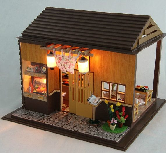 Miniature Dollhouse  DIY Kit Sakura Sushi Shop with by SimpleSmart