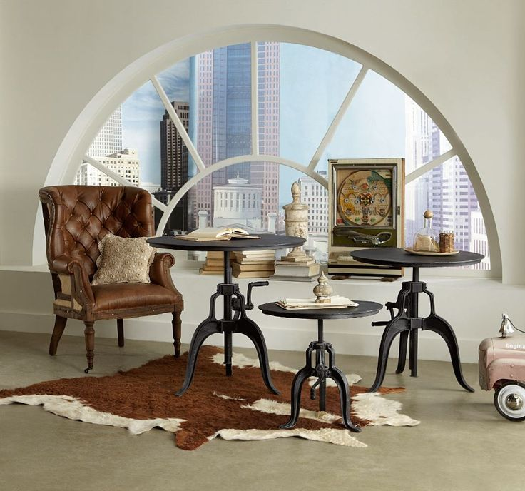 Crafted exclusively from reclaimed materials, each piece in this unique collection features fine details, such as ornate metalwork and adjustable hand cranks for a vintage look that blends art and function.