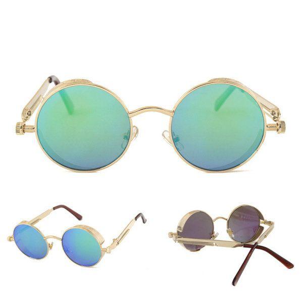 Men Women UV400 Vintage Steampunk Round Mirror Lens Sunglasses Outdoor Sport Eyewear