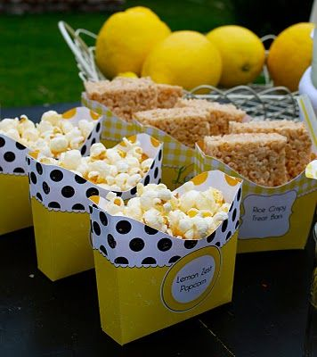 DIY Lemonade Stand · Edible Crafts | CraftGossip.com Something salty to go with the sweet and sour lemonade...popcorn is yellow...