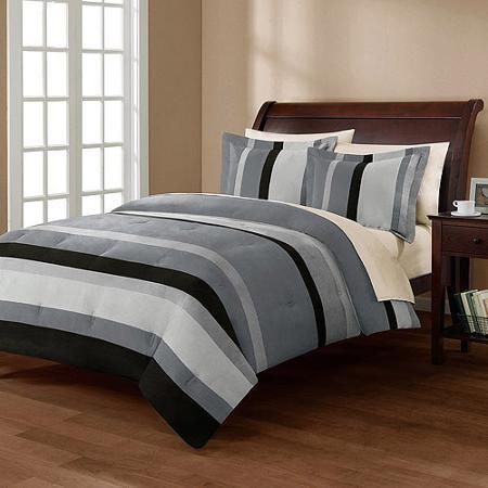 Black And White Striped Comforter Set Collection, Boulder Stripe    Walmart.com