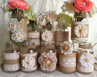 Lavender rustic burlap and lace covered 3 mason jar by PinKyJubb