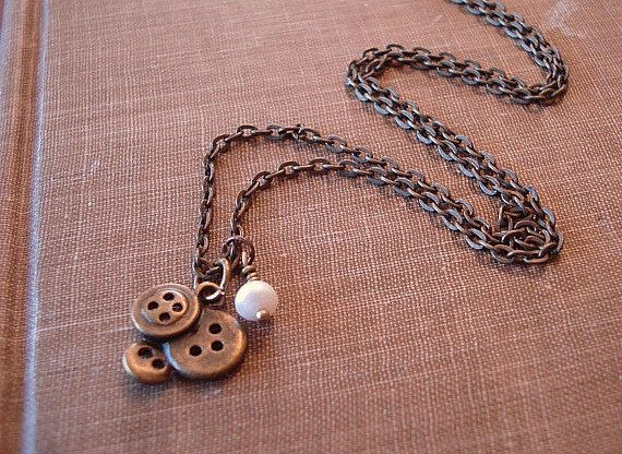 Button Necklace Sewing Necklace with Pearl by RhondasTreasures, $17.00