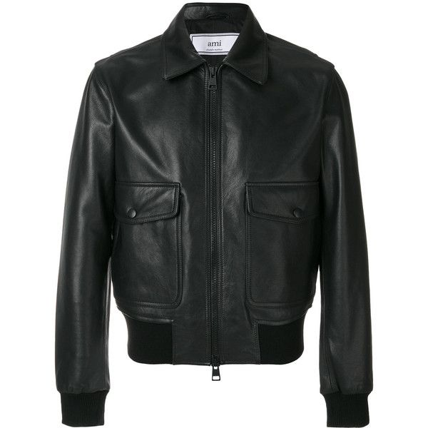 Ami Alexandre Mattiussi zipped bomber jacket (1,233,420 KRW) ❤ liked on Polyvore featuring men's fashion, men's clothing, men's outerwear, men's jackets, black, mens leather jackets, mens real leather jackets, mens leather bomber jacket, mens zipper jacket and mens zip jacket
