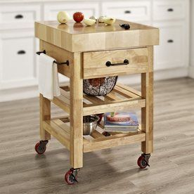 Crosley Furniture 24-In L X 24-In W X 34.4-In H Brown Kitchen Island With Casters Cf3007-Na