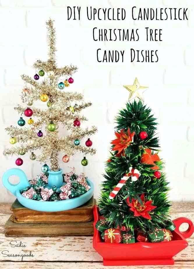 Small Tabletop Christmas Trees In Chambersticks And Candy Bowls Tabletop Christmas Tree Mini Christmas Tree Christmas Tree Decorations