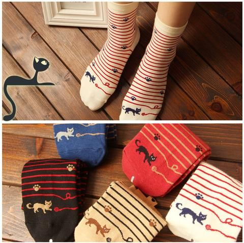 Sassy Cat Striped Cotton Socks - Two Stupid Cats It's a Cat following a thread on these cute cotton socks in a stripy style with cute paw details.  Material: Cotton Length: 23 cm Size: US 5-9 (Eur 35-40)