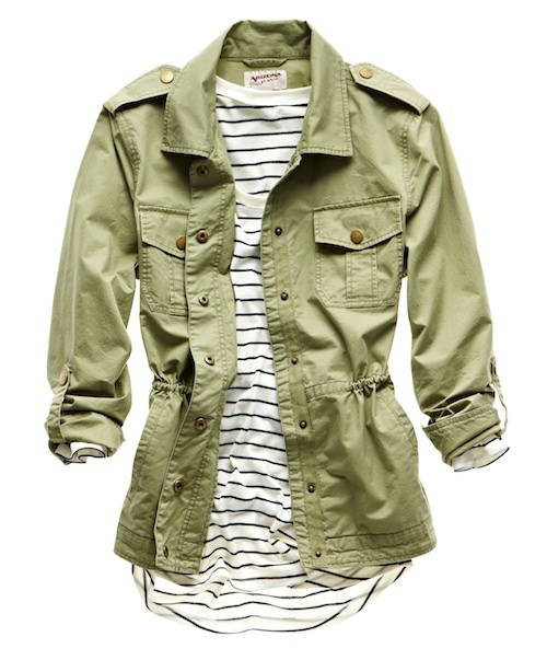 trends: military; arizona military jacket and love by design stripped top. I have this AZ jacket!!!
