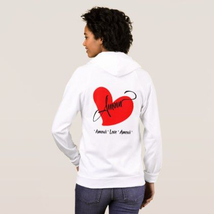 Amour (Love In French) Hoodie - valentines day gifts love couple diy personalize for her for him girlfriend boyfriend