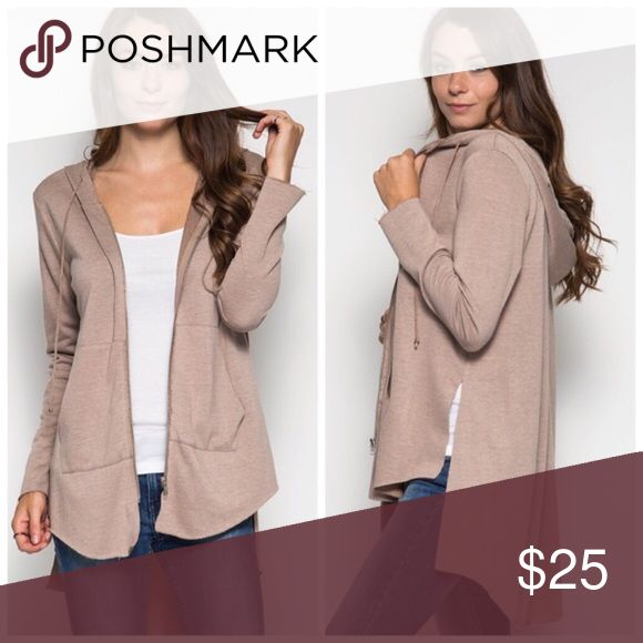Beige zip up hoodie Casual beige zip up light sweater with pockets. Only worn once - like new! Bought from Poshmark boutique She and Sky Sweaters