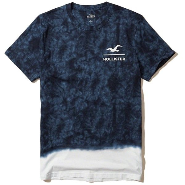 Hollister Tie-Dye Graphic Tee ($20) ❤ liked on Polyvore featuring men's fashion, men's clothing, men's shirts, men's t-shirts, navy, mens print shirts, mens tie dye t shirts, j crew mens shirts, mens tie dye shirts and mens graphic t shirts