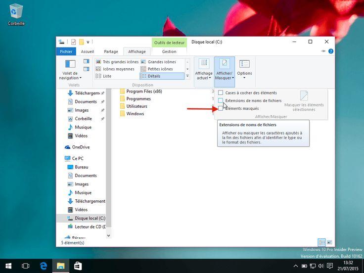 Comment afficher les fichiers cachés de windows 10