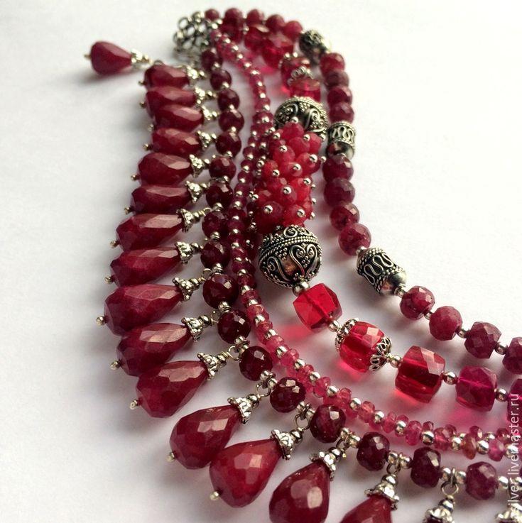 """Купить Браслет """"Рубиновый"""" - бордовый, рубин, натуральный рубин, рубиновый браслет, красная шпинель"""