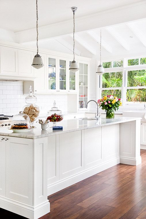 Kitchen In White French Provincial - love the white purity, the amazing lights and stunning window with natural light