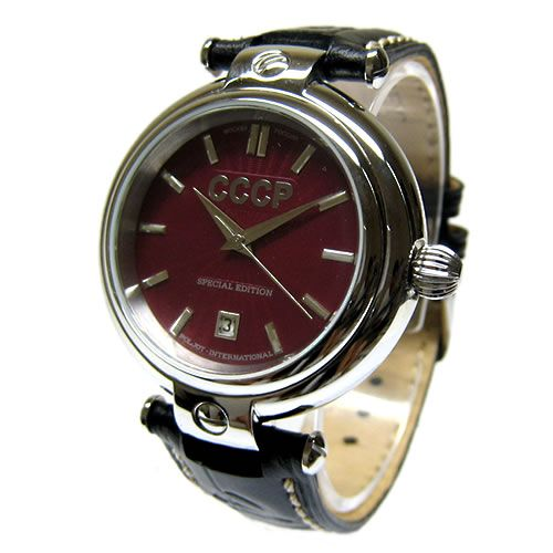 CCCP機械式自動巻き腕時計(赤フェイス/黒レザーベルト)【C199013】【smtb-k】【kb】5P23oct10 SALE %OFF セール