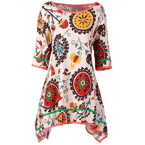 Alkalmi Scoop nyakörv 3/4 Sleeve Nyomtatott Aszimmetrikus női ruha…
