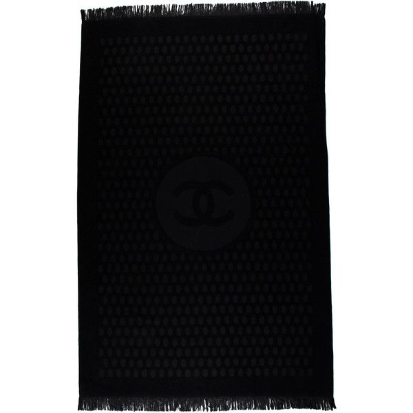 Pre-owned Chanel Oversize CC Beach Towel ($535) ❤ liked on Polyvore featuring home, bed & bath, bath, beach towels, black, cotton beach towels, oversized beach towels, chanel, black beach towel and polka dot beach towel