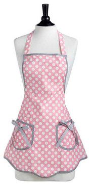 Jessie Steele Rosy Pink Polka Dot Ava Apron - traditional - Aprons - Lalapatoot