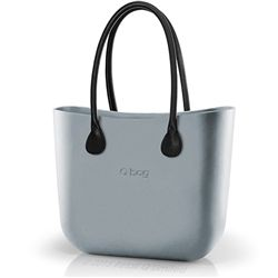 O bag Classic in Satin Silver with Black Long Faux Leather Handles