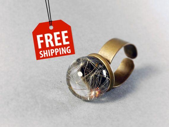 Real Dandelion Ring Black sphere resin dandelion by ByEmilyRay