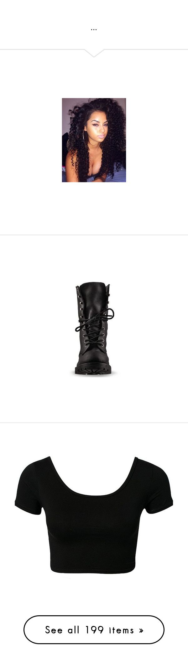 """..."" by trillest-queen ❤ liked on Polyvore featuring hair, pictures, shoes, boots, sapato, black distressed, leather military boots, distressed black boots, black army boots and combat booties"