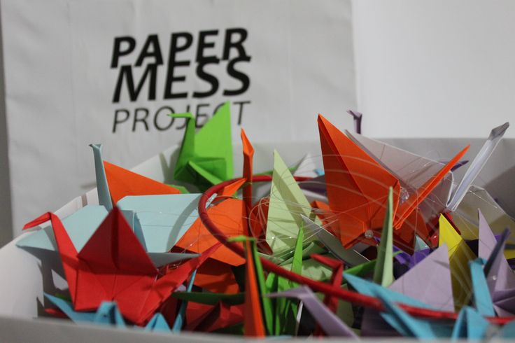 mobile, papercrane, origami, paper mess project