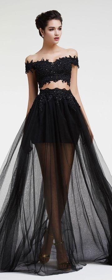 Sexy Slit Two Pieces Black Lace Prom Dress