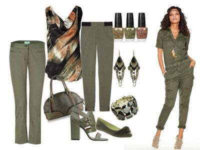 Женские штаны цвет хаки