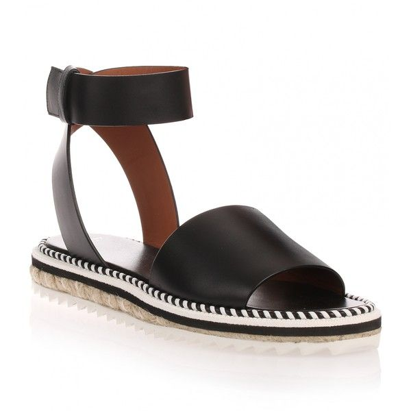 Givenchy Rocket black leather espadrille ($425) ❤ liked on Polyvore featuring shoes, sandals, flats, black, espadrille sandals, black flat shoes, ankle strap flats, ankle wrap sandals and leather espadrille flats