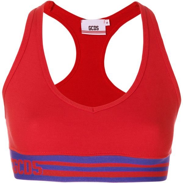 Gcds striped sports bra ($68) ❤ liked on Polyvore featuring activewear, sports bras, red, red sports bra, gcds and striped sports bra