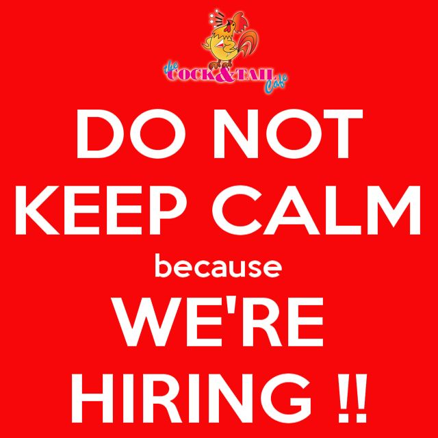 WE ARE HIRING! The Cock & Tail Cafe is looking for waiters/waitresses for the upcoming school holidays and Africa Bike Week. Anybody knows of anyone who is looking to make some extra money please ask them to contact Neville on 0393122383 or neville@cockntail.co.za We are looking for energetic, well spoken and presentable people between 16 and 35, previous experience and being able to speak Afrikaans will be beneficial.