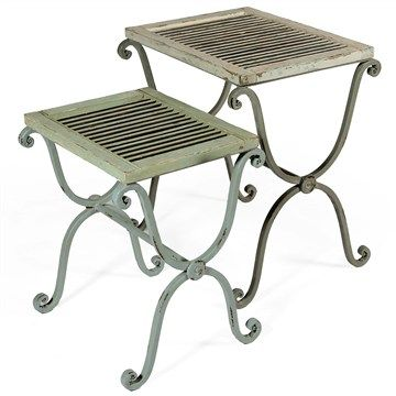 Set of 2 Louvre Solid Fir Timber and Iron Side Tables