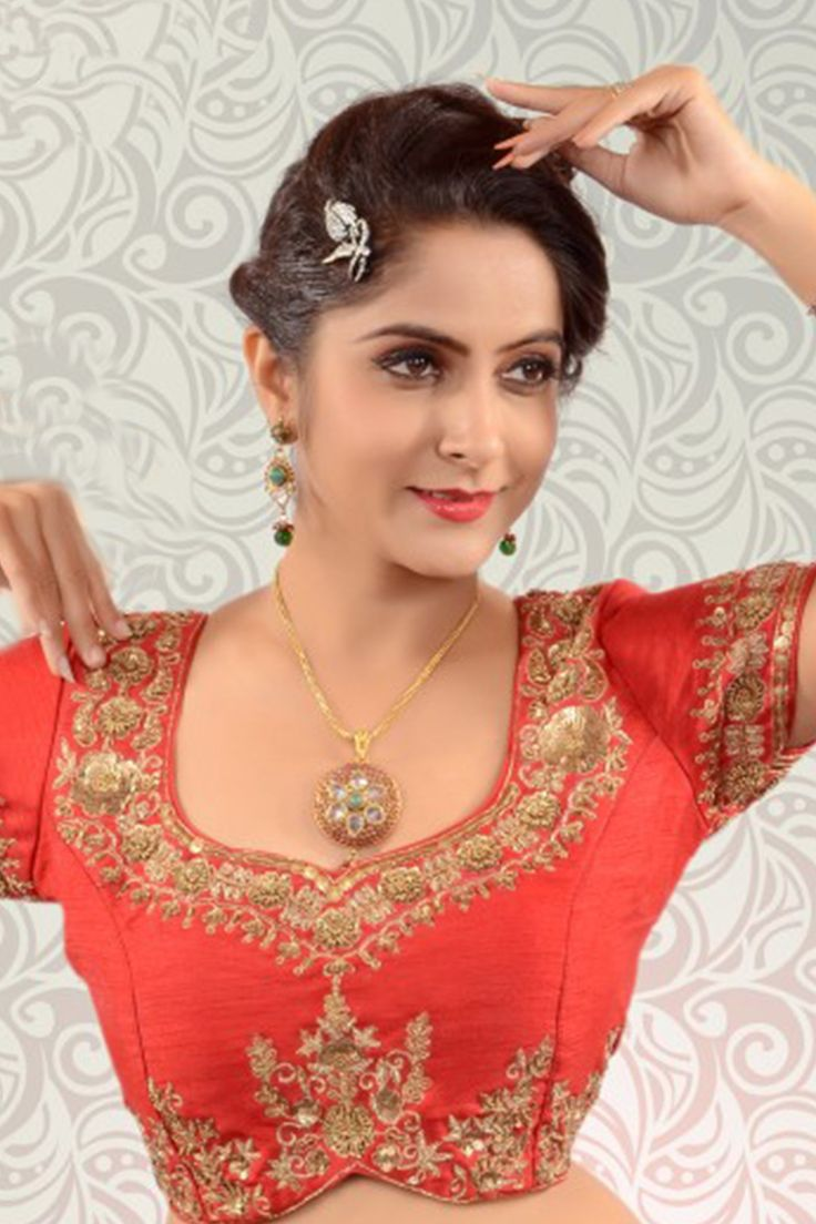 Red & antique gold raw silk delightful blouse with leaf necj -BL816