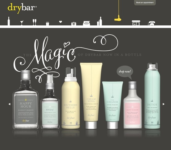 Drybar website | product showcase | whimsical type | simplistic color choices | illustrated nav bar