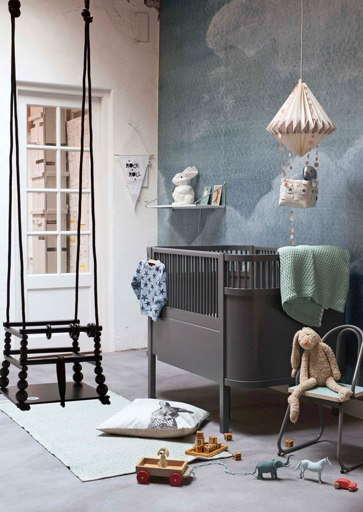vintage inspired whimsical kids room in a muted color palette