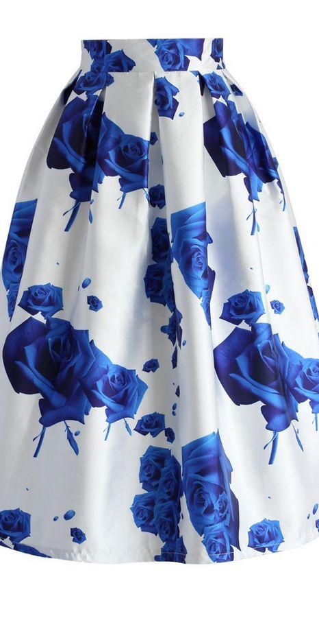 blue rose print satin midi skirt