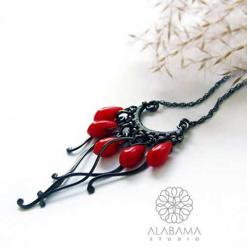 ALABAMA - Rafa koralowa - srebrny naszyjnik wire-wrapping z koralem  #polandhandmade, #alabama, #wirewrapping, #necklace, #set, #coral, #christmas, #gift, #red, #santaiscoming