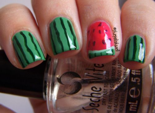 Watermelon!: Nails Art, Nails Design, Pretty Nails, Summer Nails, Nails Ideas, Nails Polish, Nail Ideas, Watermelon Nails, Watermelonnail